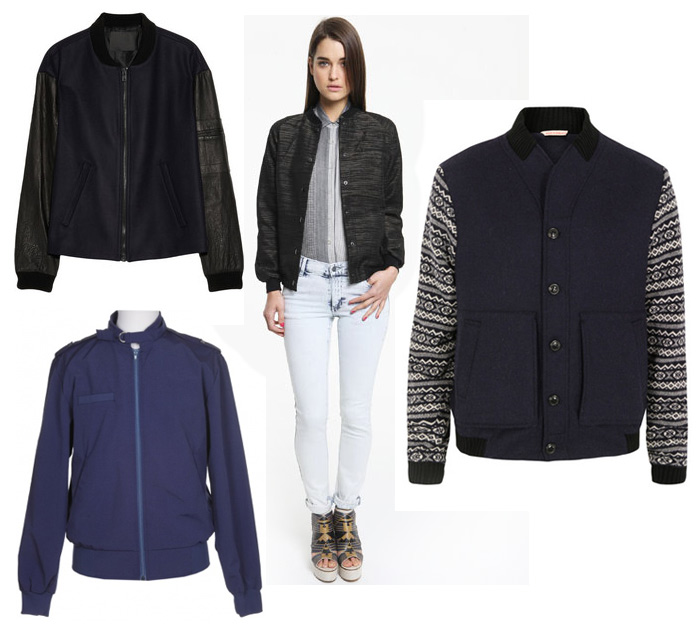 From left: ALC leather sleeved wool bomber jacket: бё755, Net a Porter. Surface to Air Ziggy bomber: now бё150, Urban Outfitters. Oliver Spencer navy pilot
