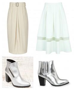 white skirts silver boots mango topshop atalanta weller